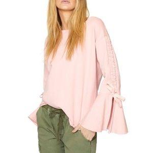 Sanctuary pink sweatshirt with statement sleeves